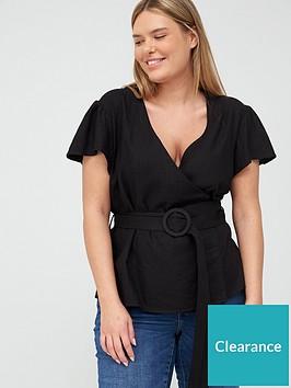 v-by-very-curve-linen-blend-wrap-blouse-black