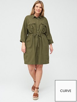 v-by-very-curve-linen-blend-utility-dress-khaki