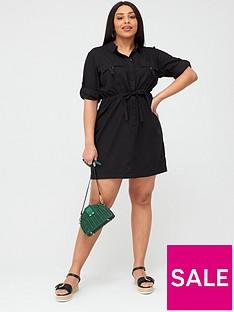 v-by-very-curve-linen-blend-utility-dress-black