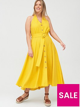 v-by-very-curve-linen-blend-halter-neck-dress-yellow