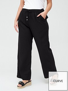 v-by-very-curve-linen-blend-trouser-black