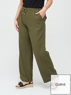 v-by-very-curve-linen-blend-trouser-khaki