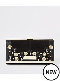 river-island-river-island-flower-embellished-cliptop-purse-black
