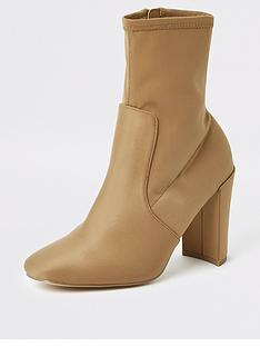 river-island-stretch-sock-boot-beige