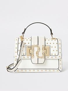 river-island-river-island-studded-satchel-mini-bag-cream