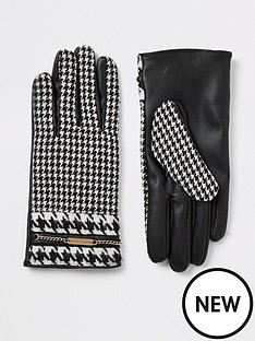 river-island-river-island-dogtooth-check-gloves-black