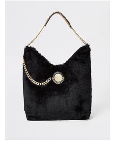 river-island-river-island-faux-fur-coin-chain-slouch-bag-black