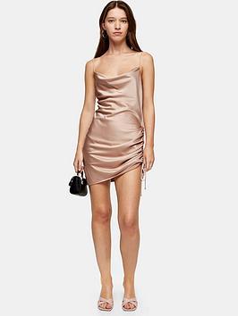 topshop-topshop-ruched-mini-slip-dress-pink