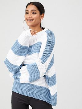 in-the-style-in-the-style-x-billie-faiers-chunky-stripe-knit-jumper-blue