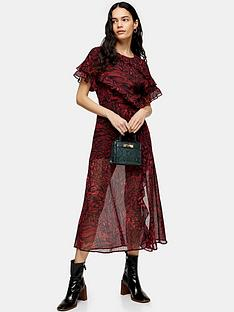 topshop-ruffle-animal-midi-dress-red