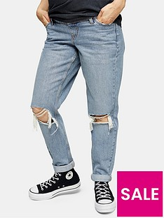 topshop-maternity-double-rip-bleached-mom-jeans-blue