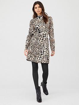 v-by-very-high-neck-printed-mini-dress-animal-print