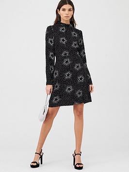 v-by-very-high-neck-mini-dress-star-print