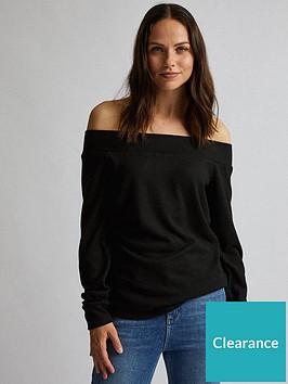 dorothy-perkins-brushed-bardot-long-sleeve-top-black