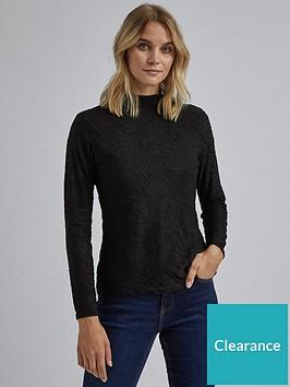 dorothy-perkins-long-sleeve-textured-high-neck-top-black