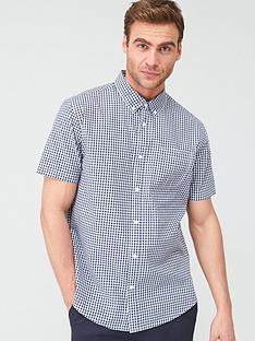 v-by-very-gingham-check-short-sleeved-shirt-navy