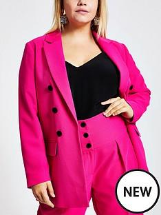 ri-plus-ri-plus-velvet-button-front-blazer-pink