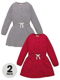 v-by-very-girls-2-pack-button-front-tie-waist-dresses-multi