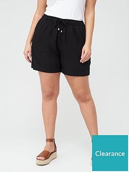 v-by-very-curve-linen-blend-short-black