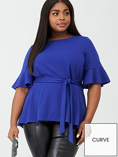 v-by-very-curve-stretch-belted-top-bright-blue