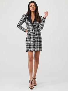 river-island-river-island-check-sequin-long-sleeve-tux-dress--silver