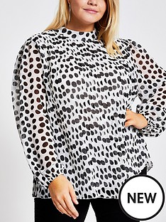 ri-plus-ri-plus-polka-dot-plisse-tie-neck-blouse-white