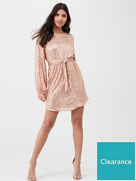 river-island-river-island-sequin-puff-sleeve-belted-mini-dress-rose-gold