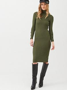 river-island-river-island-roll-neck-bodycon-cable-knitted-dress-khaki