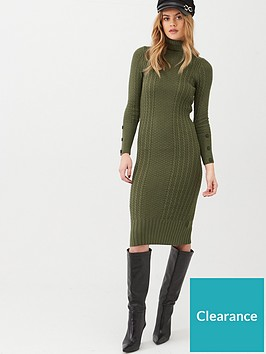 river-island-roll-neck-bodycon-cable-knitted-dress--khaki