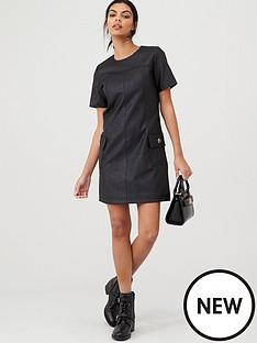 river-island-river-island-faux-leather-swing-mini-dress--black