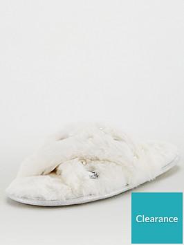 v-by-very-briana-cross-strap-embellished-slider-slipper-cream