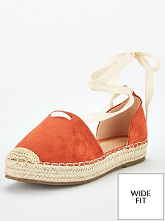 v-by-very-magna-wide-fit-two-part-tie-leg-espadrille-orange