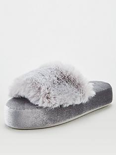 v-by-very-wilma-faux-fur-slider-slipper-grey