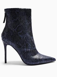 topshop-eda-snake-print-point-boots-navy