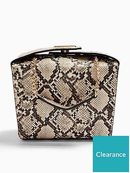 topshop-snake-print-boxy-bag-natural