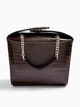 topshop-croc-print-boxy-bag-brownnbsp