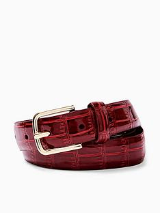 topshop-topshop-croc-belt-red