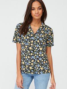 v-by-very-short-sleeve-button-through-shirt-blackfloral