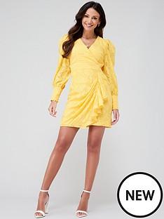 michelle-keegan-burnout-ruffle-skirt-mini-dress-yellow