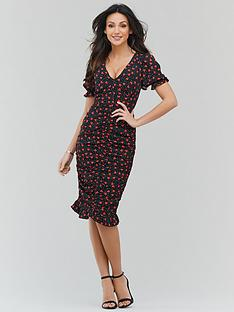 michelle-keegan-ruched-front-fitted-midi-dress-print