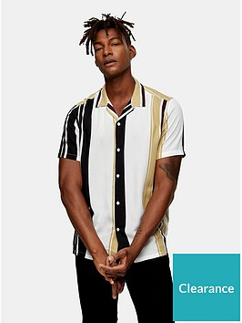 topman-topman-vertical-stripe-short-sleeve-shirt