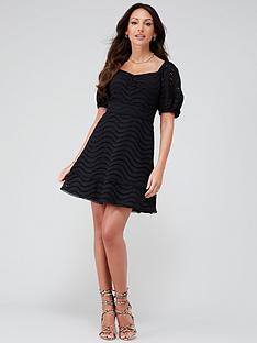 michelle-keegan-broiderie-lace-skater-dress-black