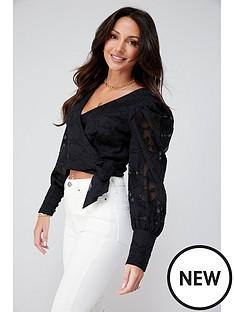 michelle-keegan-burnout-ruched-blouse-black