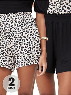 v-by-very-2-pack-shirred-hem-jersey-shorts-animalblack