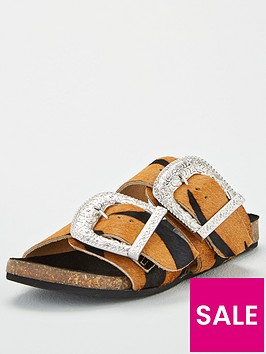 warehouse-double-buckle-footbed-sandal-animal