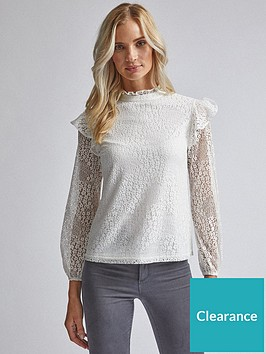 dorothy-perkins-lace-ruffle-top-ivory