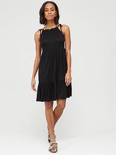 v-by-very-tiered-jersey-tie-shoulder-short-dress-black