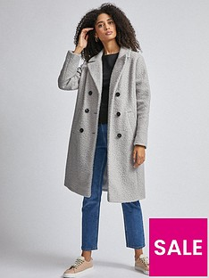 dorothy-perkins-double-breasted-boucle-midi-coat-grey