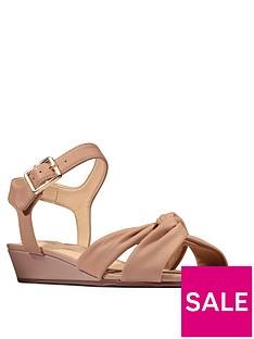 prod1089366414: Sense Strap Leather Low Wedge Sandal - Beige