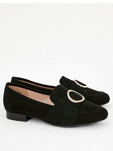 evans-extra-wide-fit-ria-microfibre-gold-ring-loafers-black